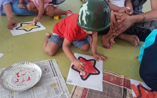 Kids Painting and Colouring at TRINS ELC - Best Preschools in Trivandrum